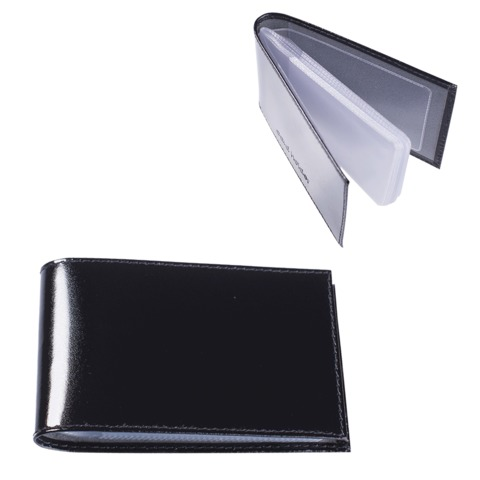 "Визитница карманная BEFLER ""Classic"" на 40 визиток, натуральная кожа, черная, V.30.-1"