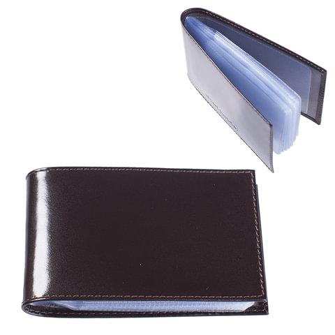 """Визитница карманная BEFLER """"Classic"""" на 40 визитных карт, натуральная кожа, коричневая, V.30.-1"""