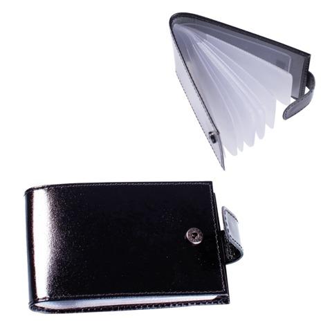 """Визитница карманная BEFLER """"Classic"""" на 40 визиток, натуральная кожа, кнопка, черная, V.31.-1"""