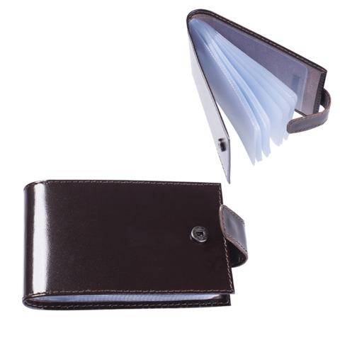 """Визитница карманная BEFLER """"Classic"""" на 40 визиток, натуральная кожа, кнопка, коричневая, V.31.-1"""
