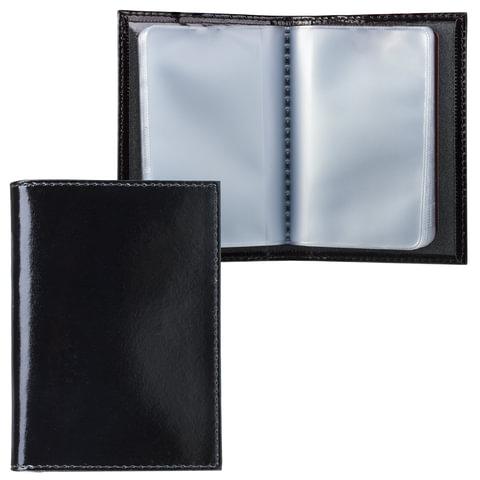 "Визитница карманная BEFLER ""Classic"" на 40 визиток, натуральная кожа, черная, V.32.-1"