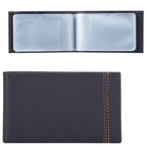 """Визитница карманная FABULA """"Brooklyn"""" на 40 визитных карт, натуральная кожа, контрастная отстрочка, синяя, V.82.BR"""