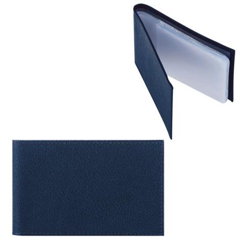 """Визитница карманная FABULA """"Largo"""" на 40 визиток, натуральная кожа, синяя, V.1.LG"""