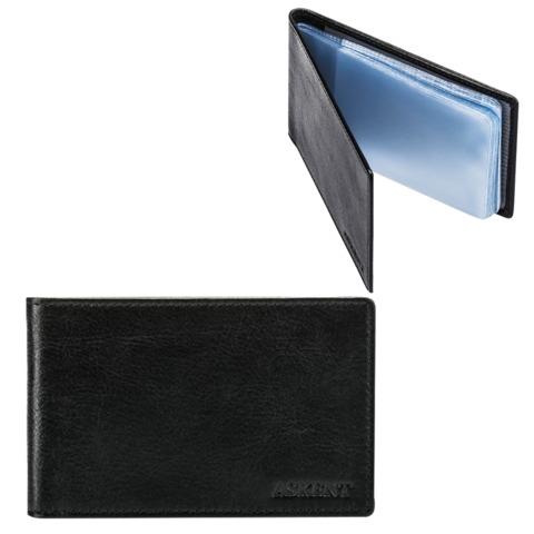"""Визитница карманная FABULA """"Estet"""" на 40 визитных карт, натуральная кожа, черная, V.1.MN"""