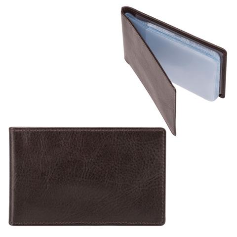 """Визитница карманная FABULA """"Estet"""" на 40 визитных карт, натуральная кожа, темно-коричневая, V.1.MN"""
