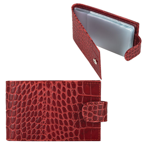 "Визитница карманная FABULA ""Croco Nile"" на 40 визитных карт, натуральная кожа, крокодил, красная, V.39/1.KR"