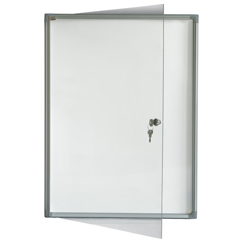 Доска-витрина магнитно-маркерная на 4 листа А4. алюминиевая рамка.замок. OFFICE.