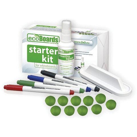 Набор для магнитно-маркерной доски (4 маркера + стиратель + чистящее средство + 10 магнитов),