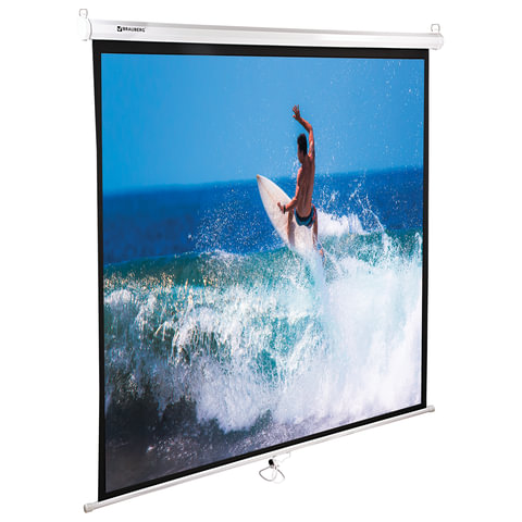 Экран проекционный BRAUBERG WALL, матовый, настенный, 150х150см, 1:1, 236725