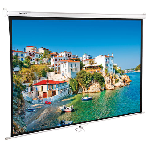 Экран проекционный BRAUBERG WALL, матовый, настенный, 150х200см, 4:3, 236728