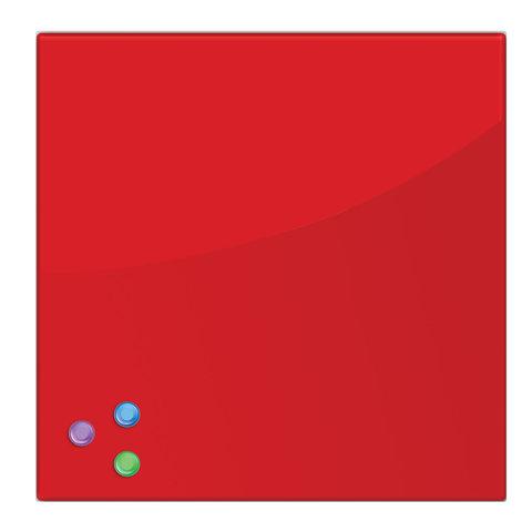 Доска магнитно-маркерная стеклянная (45х45 см). 3 магнита. КРАСНАЯ. BRAUBERG. 236737