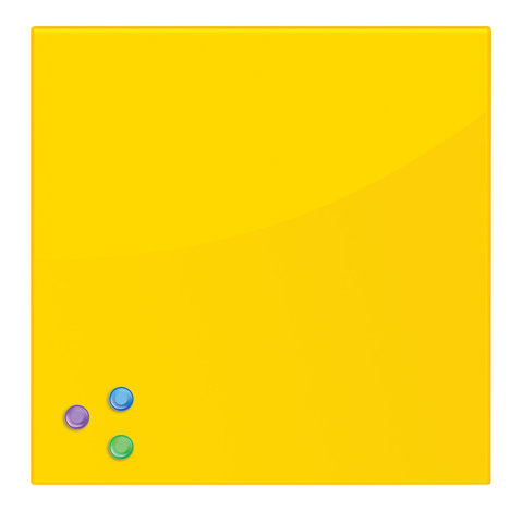 Доска магнитно-маркерная стеклянная (45х45 см). 3 магнита. ЖЕЛТАЯ. BRAUBERG. 236739