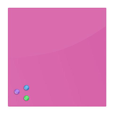 Доска магнитно-маркерная стеклянная (45х45 см). 3 магнита. РОЗОВАЯ. BRAUBERG. 236742