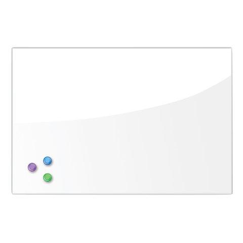 Доска магнитно-маркерная стеклянная (40х60см). 3 магнита. БЕЛАЯ. BRAUBERG. 236744