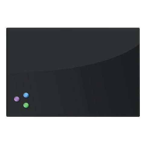 Доска магнитно-маркерная стеклянная (40х60 см). 3 магнита. ЧЕРНАЯ. BRAUBERG. 236745