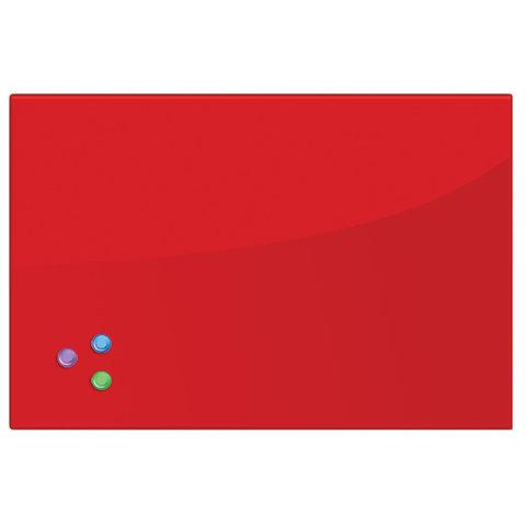 Доска магнитно-маркерная стеклянная (40х60 см). 3 магнита. КРАСНАЯ. BRAUBERG. 236746