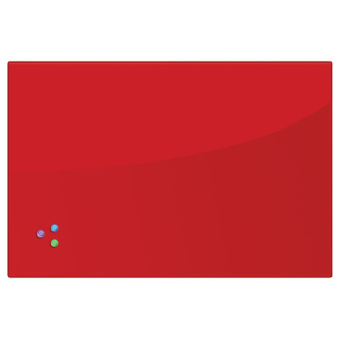 Доска магнитно-маркерная стеклянная (60х90 см). 3 магнита. КРАСНАЯ. BRAUBERG. 236749