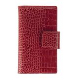 "Визитница трехрядная FABULA ""Croco Nile"" на 120 визиток, натуральная кожа, крокодил, красная, V.16.KR"