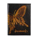 """Бумажник водителя BEFLER """"Бабочка"""", натуральная кожа, тиснение-принт, 6 пластиковых карманов, черный, BV.35.-11"""