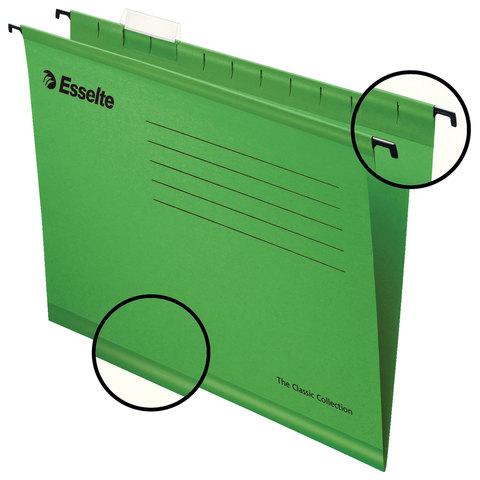 Подвесные папки А4 (345х240 мм), до 300 листов, КОМПЛЕКТ 25 шт., зеленые, картон, ESSELTE