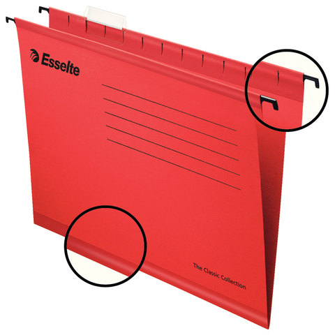 Подвесные папки А4 (345х240 мм), до 300 листов, КОМПЛЕКТ 25 шт., красные, картон, ESSELTE