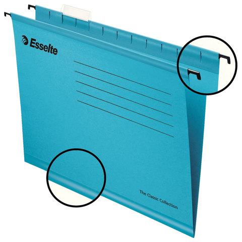 Подвесные папки А4/Foolscap (400х240 мм), до 300 листов, КОМПЛЕКТ 25 шт., синие, картон, ESSELTE
