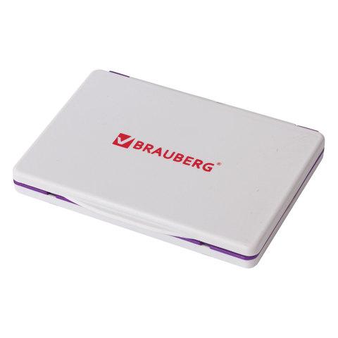 Штемпельная подушка BRAUBERG, 120х90 мм (рабочая поверхность 110х70 мм), фиолетовая краска, 236868