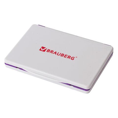 Штемпельная подушка BRAUBERG, 100х80 мм (рабочая поверхность 90х50 мм), фиолетовая краска, 236869