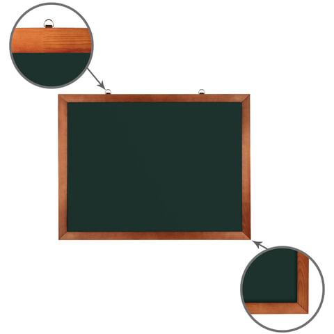 Доска для мела магнитная (60х90 см). зеленая. деревянная окрашенная рамка. Россия. BRAUBERG. 236890