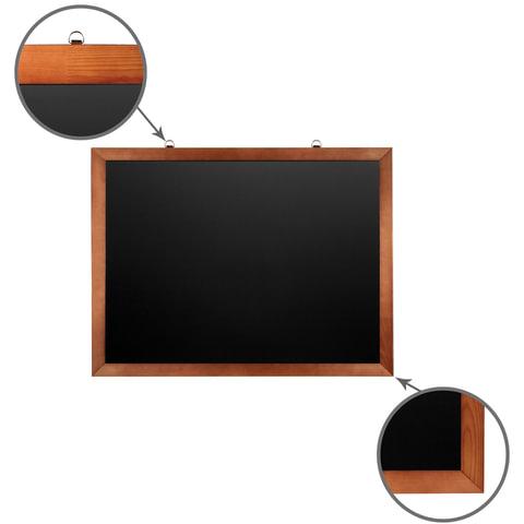 Доска для мела магнитная (60х90 см). черная. деревянная окрашенная рамка. Россия. BRAUBERG. 236891
