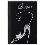 """Обложка для паспорта BEFLER """"Изящная кошка"""", натуральная кожа, тиснение, черная, O.31.-1"""