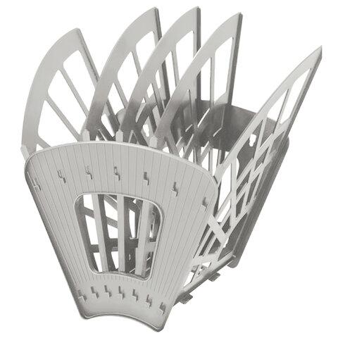 Лоток для бумаг веерный STAFF 5-ти секционный, 4 отделения, сетчатый, серый, 237022