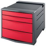 """Блок из 4 закрытых лотков для бумаги, настольный, ESSELTE """"VIVIDA"""", 285х245х365 мм, красный, 623960"""