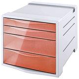 "Блок из 4 закрытых лотков для бумаги, настольный, ESSELTE ""Colour'Ice"", 285х245х365 мм, оранжевый, 626283"