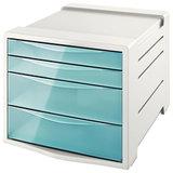 """Блок из 4 закрытых лотков для бумаги, настольный, ESSELTE """"Colour'Ice"""", 285х245х365 мм, голубой, 626284"""