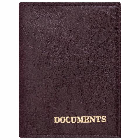 """Обложка для автодокументов STAFF """"Profit"""", экокожа, """"DOCUMENTS"""", бордовая, 237182"""