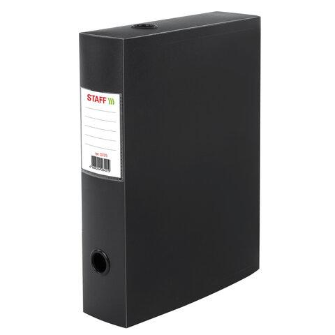 Короб архивный (330х245 мм), 70 мм, пластик, разборный, до 750 листов, черный, 0,7 мм, STAFF, 237275