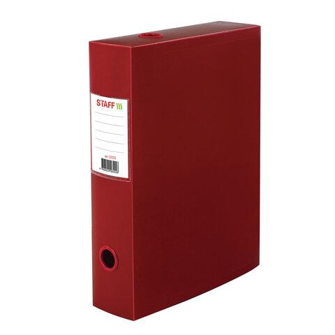 Короб архивный (330х245 мм), 70 мм, пластик, разборный, до 750 листов, красный, 0,7 мм, STAFF, 237276