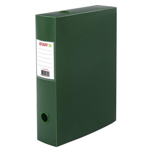 Короб архивный (330х245 мм), 70 мм, пластик, разборный, до 750 листов, зеленый, 0,7 мм, STAFF, 237277