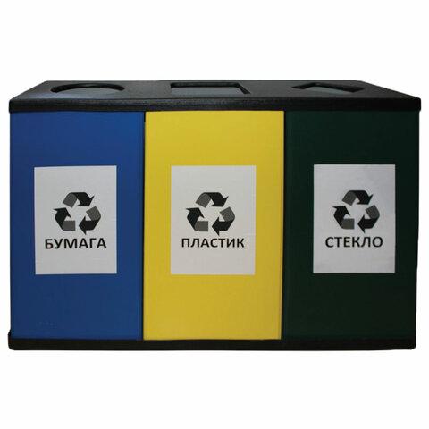 Урна металлическая для раздельного сбора мусора, 700х1065х360 мм, 3 бака по 80 литров, оцинкованная сталь/прочный термостойкий пластик, 450
