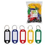 Бирки для ключей КОМПЛЕКТ 100 шт., длина 52 мм, инфо-окно 32х15 мм, цвет ассорти, STAFF, 237730