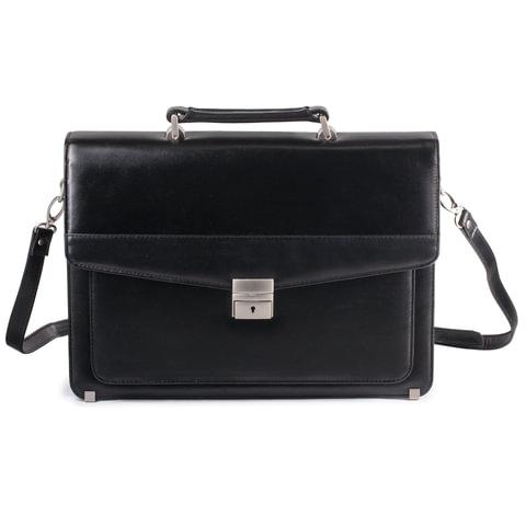 Портфель из натуральной кожи, 39х31,5х12,5 см, 2 отделения, замок с ключом, черный