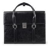Портфель-сумка женский из кожзама, на замке, 360х270х100 мм, черный, 2-236