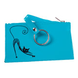 """Футляр для ключей BEFLER """"Изящная кошка"""", натуральная кожа, тиснение, молния, 130x85 мм, бирюзовый, KL.24.-1"""