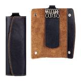 "Футляр для ключей FABULA ""Kansas"", натуральная кожа, отстрочка, 2 кнопки, 60х160х15 мм, черный, KL.7.TX"