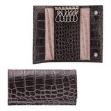 """Футляр для ключей FABULA """"Croco Nile"""", натуральная кожа, кнопки, крокодил, 110x60x15 мм, черный, KL.1/1.KR"""