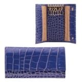 """Футляр для ключей FABULA """"Croco Nile"""", натуральная кожа, кнопки, крокодил, 110x60x15 мм, синий, KL.1/1.KR"""