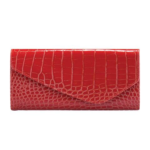 """Портмоне женское FABULA """"Croco Nile"""", натуральная кожа, кнопка, крокодил, 205х105 мм, красное, PJ.95.KR"""