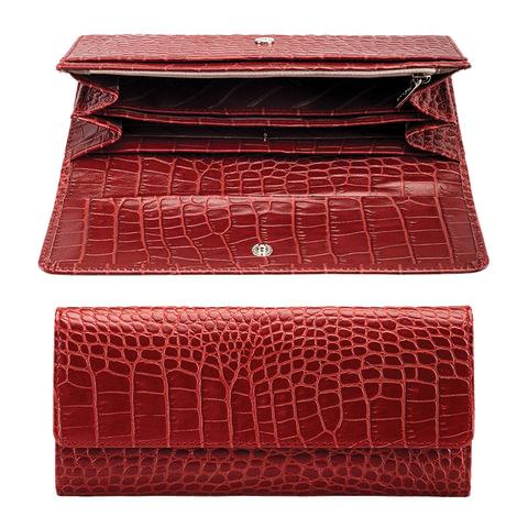 """Портмоне женское FABULA """"Croco Nile"""", натуральная кожа, кнопка, крокодил, 200х95 мм, красное, PJ.97.KR"""
