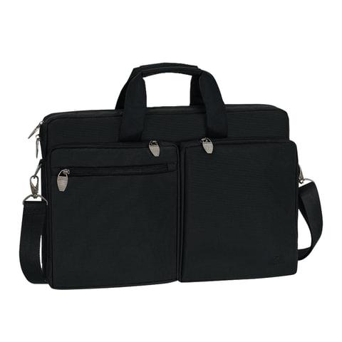 """Сумка деловая RIVACASE 8550 black, отделение для планшета и ноутбука 17,3"""", ткань, черная, 44x30x9 см, 8550 Black"""